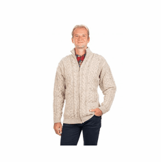 Men's Zip-up Cardigan with Cable Patterns