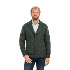 Mens Aran Cable Shawl-Collar Cardigan