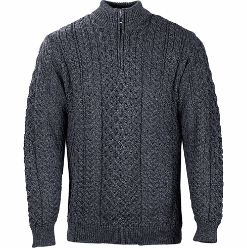 Men's Aran Knit Zip Top Sweater