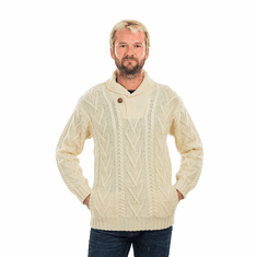 Mens Shawl Collar Single Button Sweater