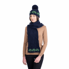 Merino Wool Irish Knit Green Shamrock Scarf for Ladies