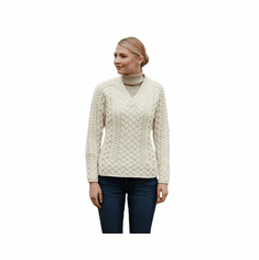 Merino Wool Knit V Neck Fitted Ladies Sweater