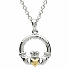 Celtic Platinum Plated Claddagh Pendant with Gold Plated Heart