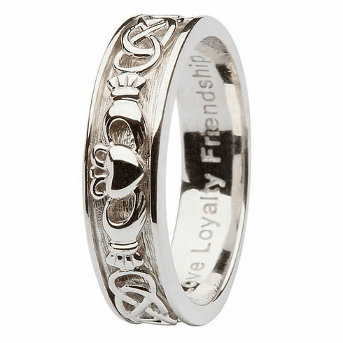 Oxidized Silver Claddagh Ring for Ladies