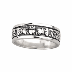 Oxidised Silver Claddagh Ring for Men