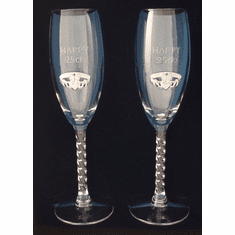 Pair 25th Anniversary Flutes Silver-plated Pewter Claddagh