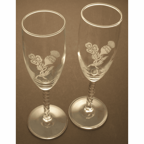 Pair Blue Stem Flutes with etched Thistle Shamrock