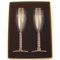 Pair Bride and Groom Flutes with Celtic Knot Etch