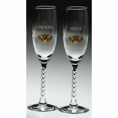 Pair Bride and Groom Flutes with Etched Claddagh