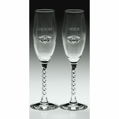 Pair Bride & Groom Flutes Silver-Plated Pewter Claddagh
