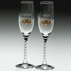 Pair Bride & Groom Flutes Gold-Plated Pewter Claddagh