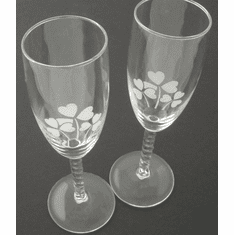 Pair Clear Stem Flutes with etched Shamrocks