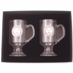 "Pair Irish Coffee Pewter Shamrock ""Slainte"""