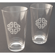 Pair of Mixing Glasses with Etched Celtic Knot