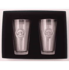 "Pair of Mixing Glasses with Pewter Claddagh ""Slainte"""