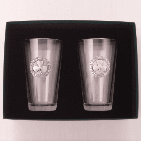 """Pair of Mixing Glasses with Pewter Shamrock """"Slainte"""""""
