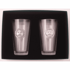 "Pair of Mixing Glasses with Pewter Shamrock ""Slainte"""