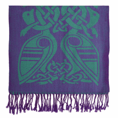 Patrick Francis Purple and Green Wool Scarf
