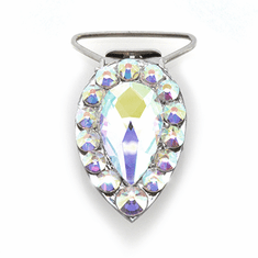 Pear Competition Number Clip - AB Crystals