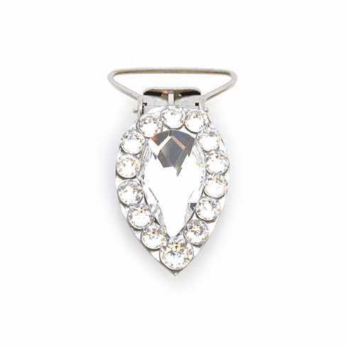 Pear Competition Number Clip - Clear Crystals