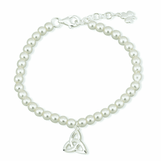 Pearl Communion Bracelet with Trinity Knot