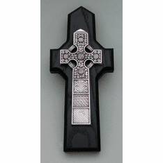 Pewter Celtic Cross Ebony Finish Wood Back