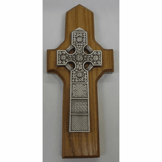 Pewter Celtic Cross / Natural Finish Wood Back