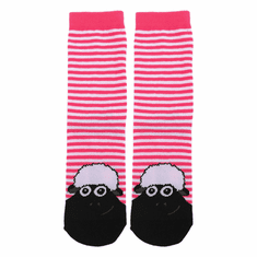 Pink White Shamrock Sheep Kids Socks