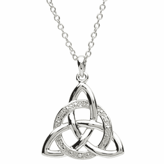 Platinum Plated Celtic Pendant Trinity Knot w/Crystals