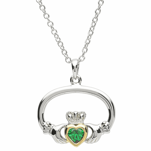 Green and Gold Platinum Plated Claddagh Heart Pendant