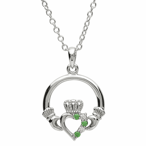 Platinum Plated Claddagh Pendant Green and White Crystal
