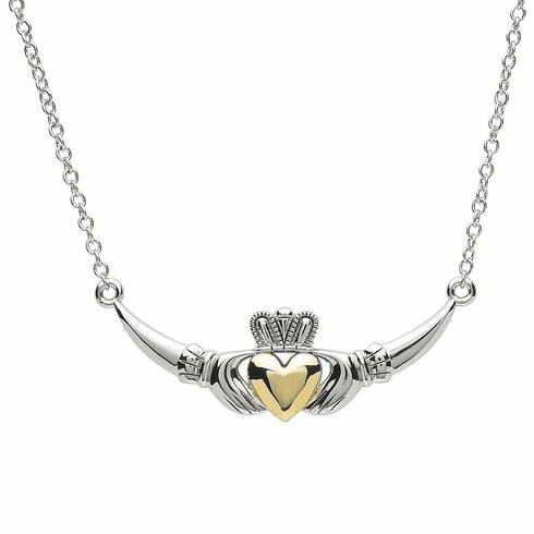 Platinum and Gold Plated Claddagh Band Pendant