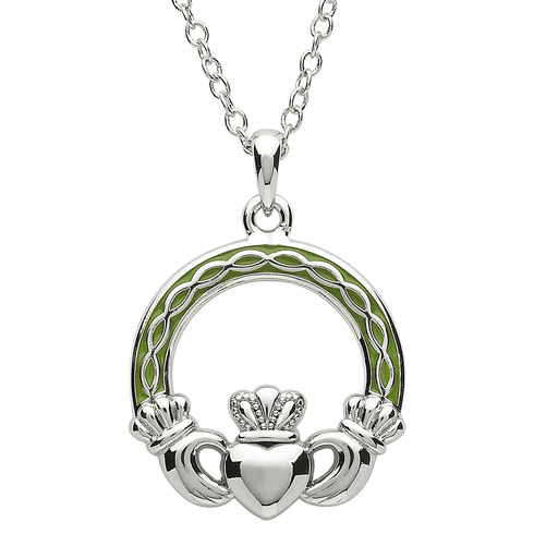 Claddagh Pendant with Green Enamel Plaiting