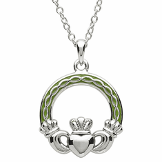 Platinum Plated Claddagh Pendant
