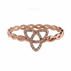 Rose Goldtone Crystal set Trinity Knot Bangle Bracelet