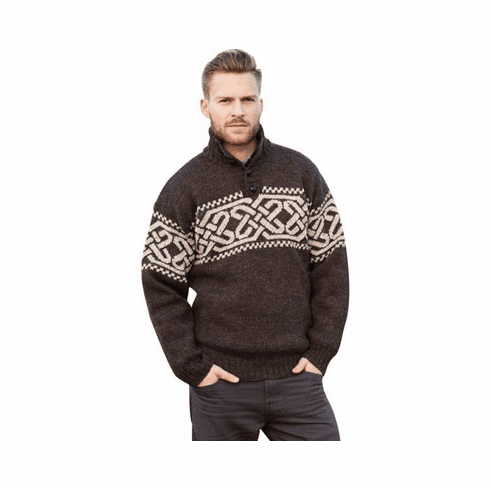 Rugged Celtic Wool Troyer Sweater