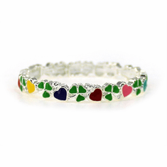 Shamrock and Hearts Child's Stretch Bracelet
