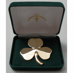 "Shamrock Brooch Gold-Plated Brass 2""x 2"""