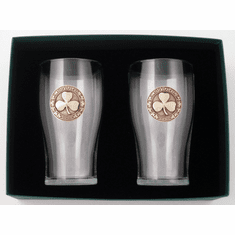 Shamrock Tulip Glasses  Pewter Accent ( pair )