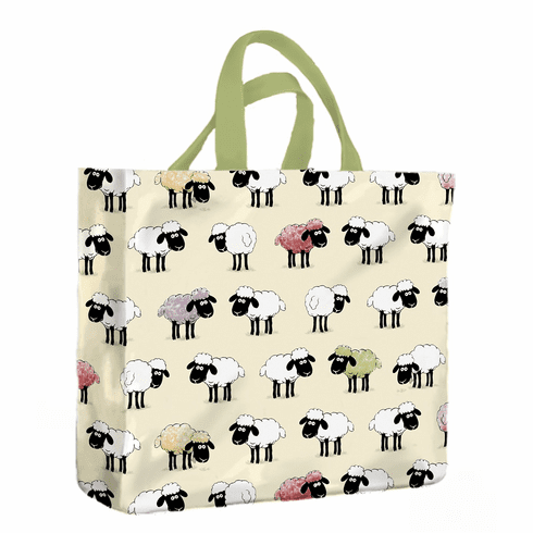 Sheep Print Carrier Bag  -  White with Green Trim