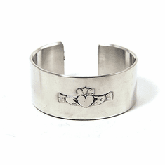 Silver Claddagh Cuff Bangle Bracelet