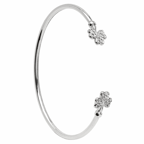 Silver Shamrock Bangle with Crystal Setting