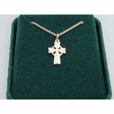 "Small Celtic Cross Medal Gold-plated Sterling Silver 18"" Chain"
