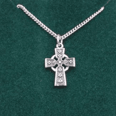 """Small Celtic Cross Medal Sterling Silver 18"""" Chain 3/4"""""""