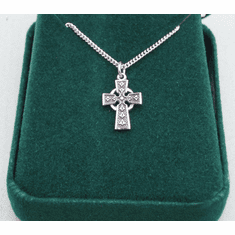 "Small Celtic Cross Medal Sterling Silver 18"" Chain 3/4"""