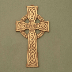 Small Celtic Wall Cross / Celtic Knot center / Antique Brass