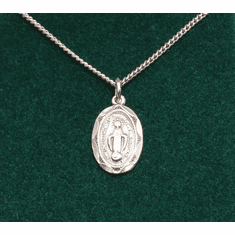 "Small Miraculous Medal Sterling Silver 16"" Chain"