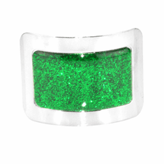 Sparkle Square Buckles with a Green Sparkly Center