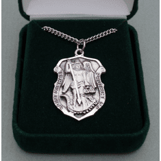 St. Michael Sterling Silver Pendant. Police Pendant