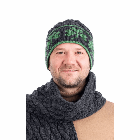 St. Patrick's Day Men Irish Wool Knit Hat with Shamrocks